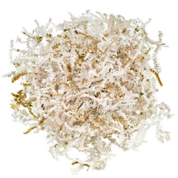 White & Gold Shredded Paper Grass