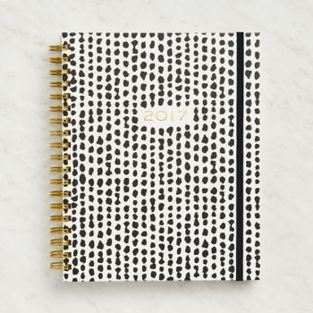 Paper Source Large Black and White Dots Weekly Spiral Planner 201