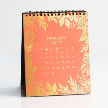 Paper Source Gold Foil Desk Easel Desk Calendar 2017