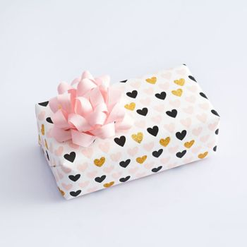 Pink, Black And Gold Glitter Hearts on White Wrapping Paper